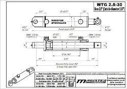 Cylindre Hydraulique Soudé Double Action 2,5 Bore 30 Stroke Tang Wtg 2,5x30 Nouveau