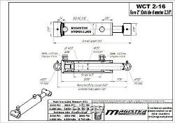 Cylindre Hydraulique Soudé Double Action 2 Bore 16 Avc Cross Tube 2x16 Nouveau