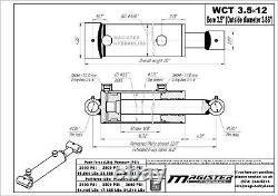 Cylindre Hydraulique Soudé Double Action 3.5 Bore 12 Stroke Cross Tube 3.5x12