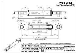 Cylindre Hydraulique Soudés Double Effet 2 Bore 12 Stroke Pivotant Eye Fin 2x12