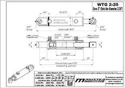 Cylindre Hydraulique Soudés Double Effet 2 Bore 20 Tang Stroke 2x20 Wtg Nouveau