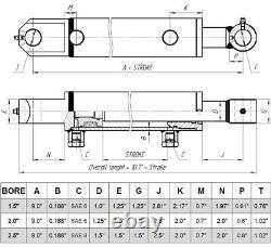 Cylindre Hydraulique Soudés Double Effet 2 Bore 24 Tang Stroke 2x24 Wtg Nouveau