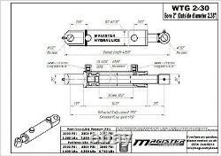 Cylindre Hydraulique Soudés Double Effet 2 Bore 30 Tang Stroke 2x30 Wtg Nouveau