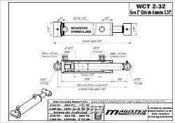 Cylindre Hydraulique Soudés Double Effet 2 Bore 32 Cross Tube Stroke 2x32 Nouveau