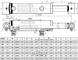 Cylindre Hydraulique Soudés Double Effet 3,5 Bore 24 Cross Tube Stroke 3.5x24