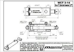 Cylindre Hydraulique Soudés Double Effet 3 Bore 14 Cross Tube Stroke 3x14 Nouveau