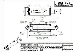 Cylindre Hydraulique Soudés Double Effet 3 Bore 24 Cross Tube Stroke 3x24 Nouveau