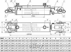 Cylindre Hydraulique Soudés Double Effet 4 Bore 30 Chape En Fin De Course 4x30 Nouveau