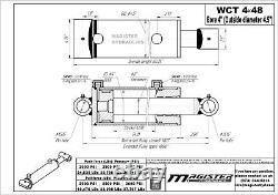 Cylindre Hydraulique Soudés Double Effet 4 Bore 48 Cross Tube Stroke 4x48 Nouveau