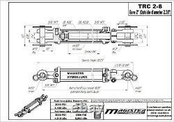 Cylindre Hydraulique Tie Rod Double Action 2 Bore 8 Stroke 2500 Psi 2x8 Nouveau