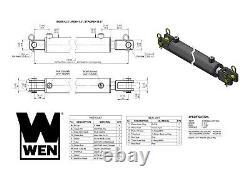 Cylindre Hydraulique Wen Cc2516 Clevis Avec Bore De 2,5 Pouces Et Coup De 16 Pouces