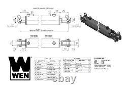 Cylindre Hydraulique Wen Cc3020 Clevis Avec Bore De 3 Pouces Et Coup De 20 Pouces