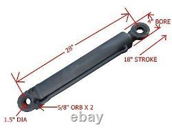 Nouveau Cylindre Hydraulique Lourde 4 Bore 28 Longueur 18 Stroke 2 Rod 1.5 Pin