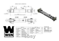 Wen Cc2030 Clevis Cylindre Hydraulique Avec Alésage De 2 Pouces Et Course De 30 Pouces