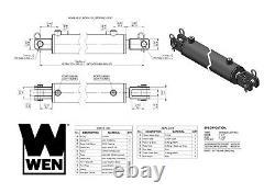 Wen Cc3012 Cylindre Hydraulique Clevis Avec Alésage De 3 Pouces Et Course De 12 Pouces