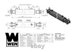 Wen Cc3024 Cylindre Hydraulique Clevis Avec Alésage De 3 Pouces Et Course De 24 Pouces