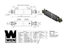 Wen Cc4036 Cylindre Hydraulique Clevis Avec Alésage De 4 Pouces Et Course De 36 Pouces
