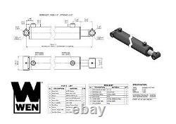 Wen Wt2518 Cylindre Hydraulique À Tube Croisé Avec Alésage De 2,5 Pouces Et Course De 18 Pouces