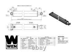 Wen Wt3024 Cross Tube Cylindre Hydraulique Avec L'alésage De 3 Pouces Et 24 Pouces Stroke