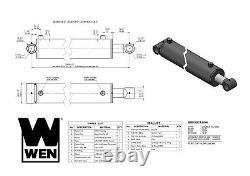 Wen Wt4018 Cylindre Hydraulique À Tube Croisé Avec Alésage De 4 Pouces Et Course De 18 Pouces